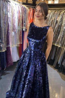 Dunkel Blau Abiballkleider Lang Glitzer | Abendkleider Günstig