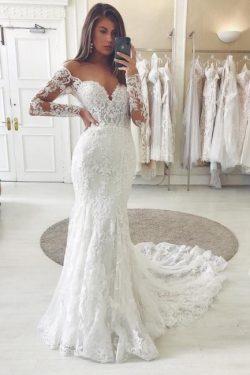 Wunderschöne Hochzeitskleider Mit Ärmel | Brautkleider Spitze Meerjungfrau