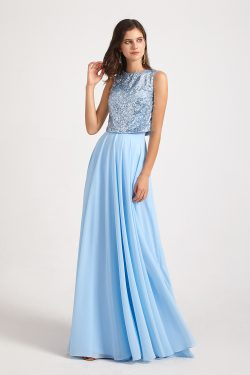 Sequin Top Chiffon Jewel Sleeveless Bridesmaid Dresses