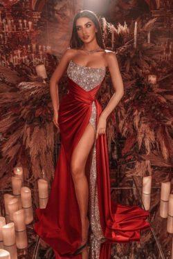 Rote Abiballkleider Lang Glitzer | Abendmoden Online Kaufen