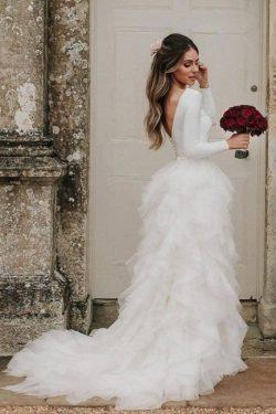 Schlichte Hochzeitskleider Weiß | Brautkleider mit Ärmel