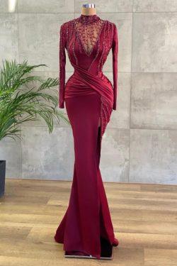 Luxus Abendkleider Lang Weinrot | Abiballkleider mit Ärmel