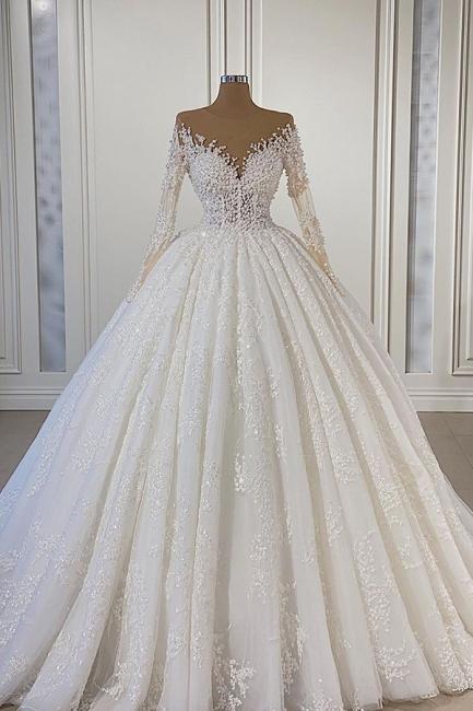 Extravagante Hochzeitskleider Mit Ärmel   Brautkleider A Linie