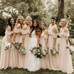 Flowy Chiffon Bohemian Cold Shoulder Sleeve Long Bridesmaid dresses