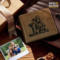 Men's Custom Photo Engraved Wallet RFID Blocking Money Clips Brown