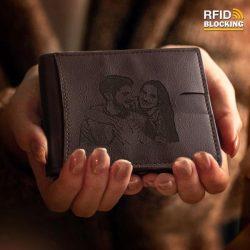 Men's Custom Photo Engraved Wallet RFID Blocking Money Clips