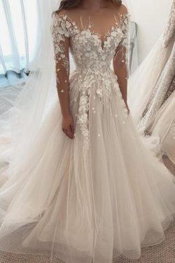 Designer Brautkleider A Linie Spitze | Hochzeitskleider mit Ärmel