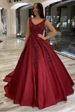 Brautkleider A Linie Weinrot | Hochzeitskleider mit Spitze