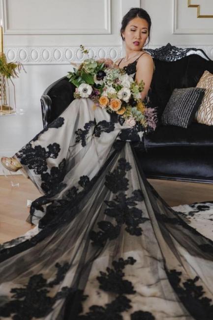 Schöne Brautkleider Schwarz | Hochzeitskleider Meerjungfrau Spitze