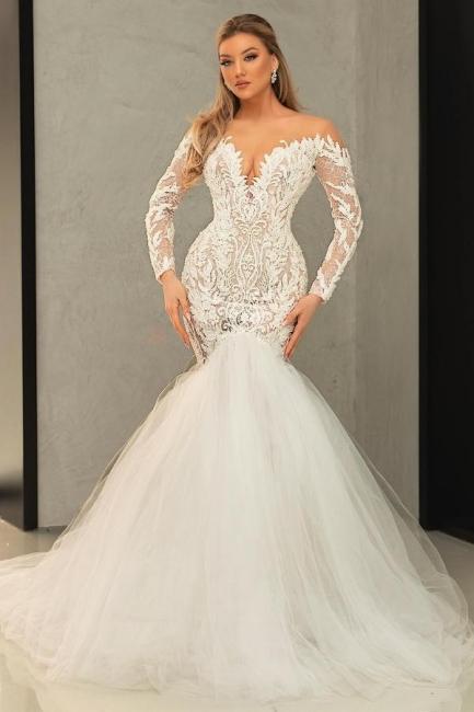 Brautkleid Meerjungfrau mit Spitze | Tüll Hochzeitskleider mit Ärmel