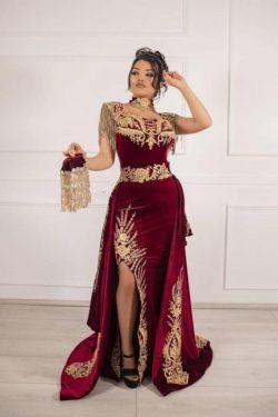 Weinrot Velvet Abendkleider Lang Günstig | Abiballkleider mit Spitze