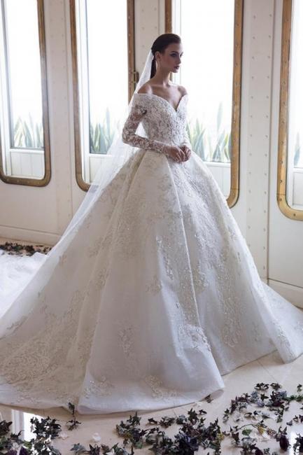 Luxus Brautkleider Mit Ärmel   Spitze Hochzeitskleider A Linie