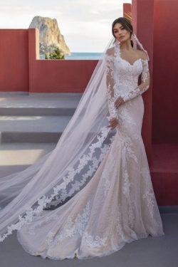 Designer Hochzeitskleider Spitze | Brautkleider Meerjungfrau Mit Ärmel
