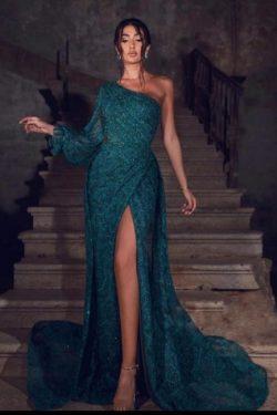 Abiballkleider Dunkel Grün | Abendkleider Lang Spitze