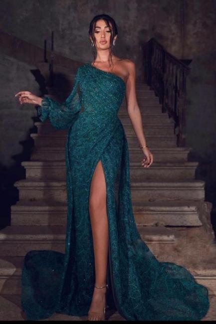 Abiballkleider Dunkel Grün   Abendkleider Lang Spitze