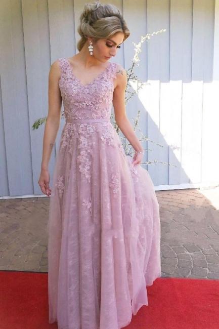 Abendkleid Lang Rosa | Abiballkleider Spitze Günstig