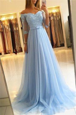 Heller Blau Abendkleider Lang Günstig | Abiballkleider Mit Ärmel