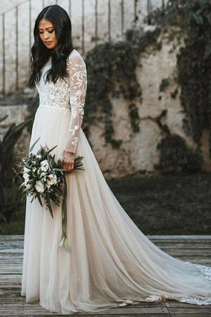 Schöne Hochzeitskleider mit Ärmel | Brautkleid A Linie Spitze