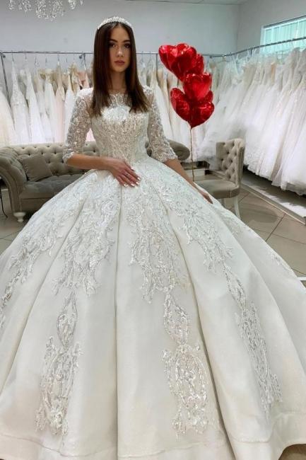 Prinzessin Hochzeitskleider mit Ärmel | Satin Brautkleider Glitzer