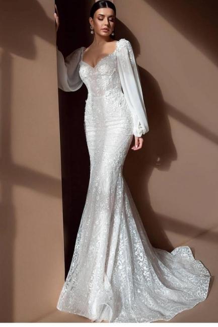 Elegante Brautkleider Mit Ärmel | Spitze Hochzeitskleider Meerjungfrau