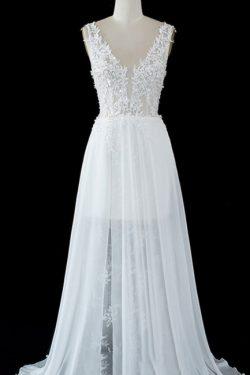 Schlichtes Hochzeitskleid A Linie | Brautkleider mit Spitze