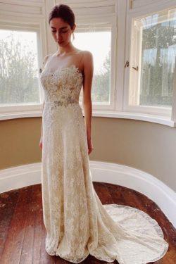 Schlichtes Hochzeitskleid Meerjungfrau Spitze | Brautkleider Günstig