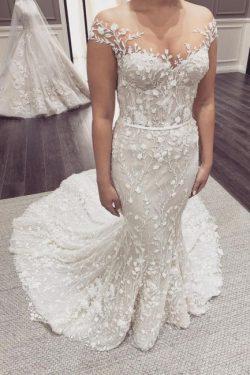 Schöne Hochzeitskleider Meerjungfrau Spitze | Brautkleid Cream