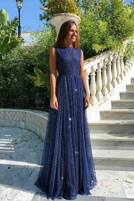 Abendkleider Lang Navy Blau   Abiballkleider mit Glitzer