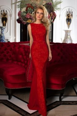 Designer Abendkleider Lang Rot | Abiballkleider mit Spitze