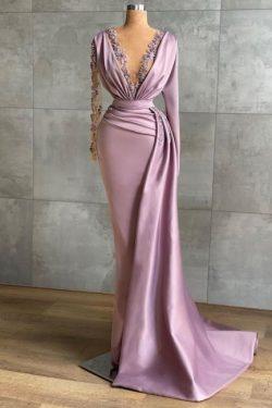 Flieder Abendkleider Lang Günstig | Abiballkleider mit Ärmel