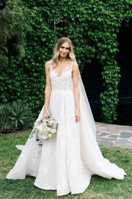 Wunderschöne Hochzeitskleider Spitze   Brautkleid A Linie Günstig