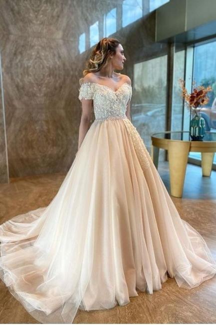 Champagne Brautkleider A Linie | Hochzeitskleider Günstig Online