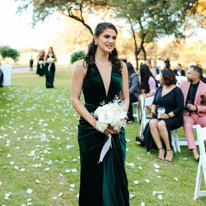 Strap Sleeveless Illusion Tulle A-Line Velvet Bridesmaid Dresses