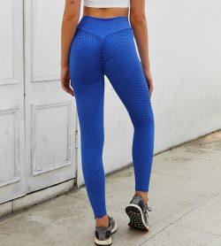 Exquisitely Blue Ankle Length Wide Waistband Tik Tok Leggings For Girl