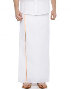 Single Dhoti With Yellow Small Border