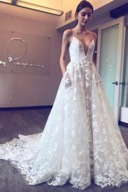 Schöne Hochzeitskleider Mit Spitze | Brautkleid A Linie Günstig