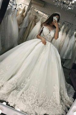 Elegante Brautkleider Mit Ärmel | Hochzeitskleider Prinzessin