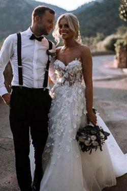 Designer Hochzeitskleider Mit Spitze | Brautkleid A Linie