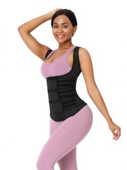 FeelinGirl Plus Size Waist Trainer Vest With 3 Rows of Eye and Hook