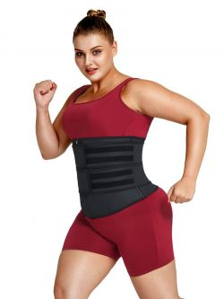 FeelinGirl Womens Latex Waist Trainer   Double Belt Waist Trainer