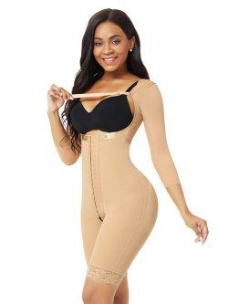 FeelinGirl Women's One-Piece Shapewear Zipper Open Mid Thigh Bodysuit