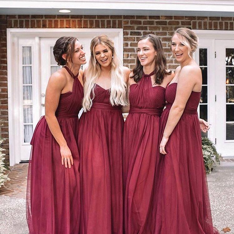 Sweetheart strapless Convertible Floor Length Bridesmaid Dresses