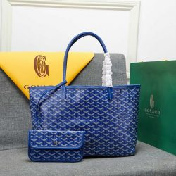 Goyard Goyardine Saint Louis Canvas Tote Blue