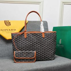 Goyard Goyardine Saint Louis Canvas Tote Brown