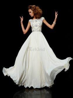 Hoher Ausschnitt Duchesse-Linie Chiffon Bodenlanges Abendkleid mit kurzen Ärmeln – MeKleid.de