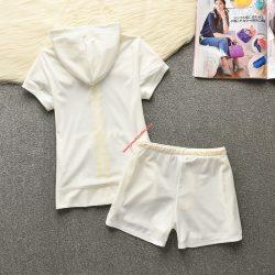 Juicy Couture Original Stripes Velour Tracksuit 652 2pcs Women Suits White