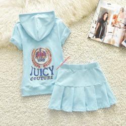 Juicy Couture Sequin Crown Velour Tracksuits 7303 2pcs Women Suits Sky Blue