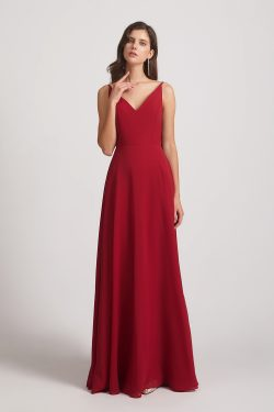 V-neck Spaghetti Straps Chiffon Bridesmaid Dresses With Back Tie