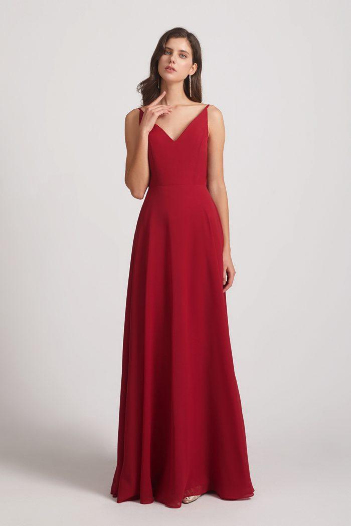 V-neck Spaghetti Straps Chiffon Bridesmaid Dresses With Back Tie