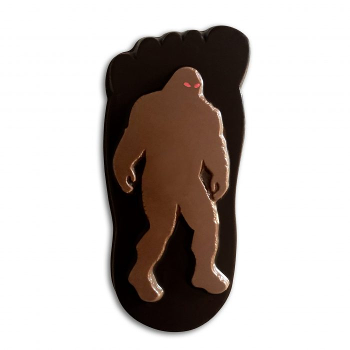 Fearsomely Delicious, Extra Thick, Milk Chocolate Sasquatch on 5 1/2″ Dark Chocolate Footprint!